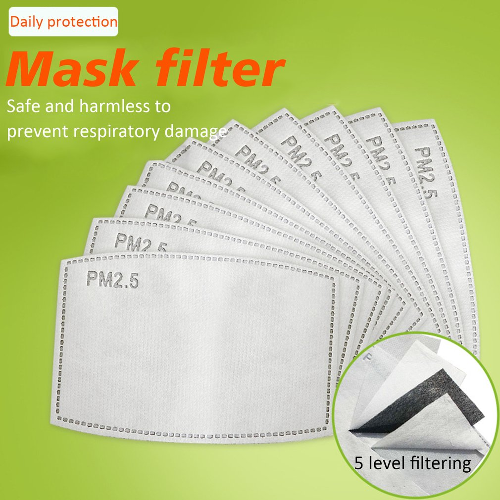 PM2.5 Filter 5 Layers Protective Filter Activated Carbon Mask Filter 3D Fitting Design Breathable Filtration 50/100 Pcs 2020