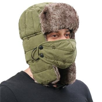 CAMOLAND Warm Trapper Hat For Men Women Windproof Winter Bomber Hats Thermal Faux Fur Earflap Snow Cap Male Ushanka Hats