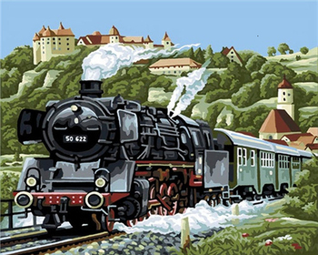 Steam Train Paint By Numbers Project Adult Age of Steam
