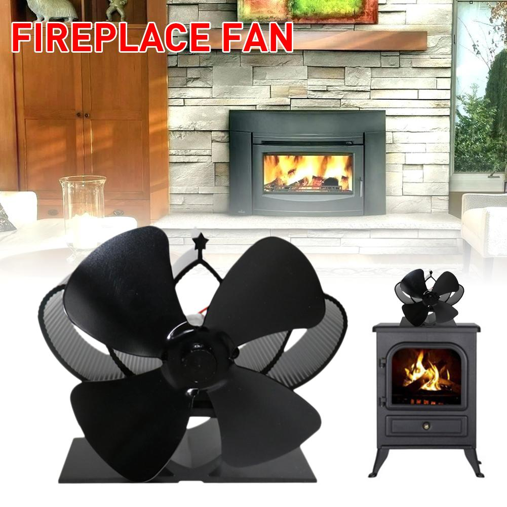 5 Blades Heat Powered Stove Fan Mini Log Wood Burner Eco-Kindly Quiet Home Fireplace Fan Heat Distribution Fuel Saving