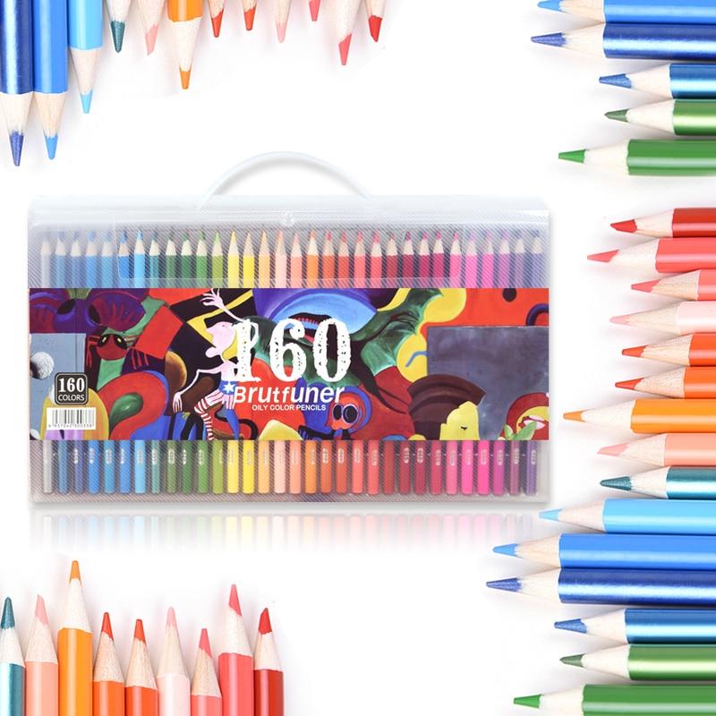 Масляный цветной карандаш 120/136/160 цветов, профессиональный цветной карандаш для рисования, Водорастворимая акварель