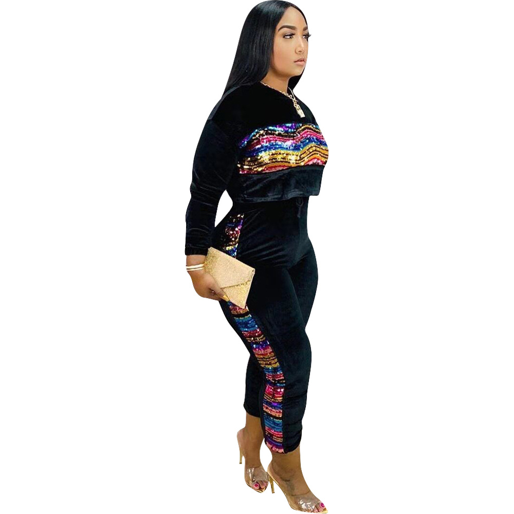 2020 Winter Women Sport 2 Piece Tracksuit Color Sequined Patchwork Full Sleeve O-neck Sweatshirt Pants Casual Sweatsuit Outfits