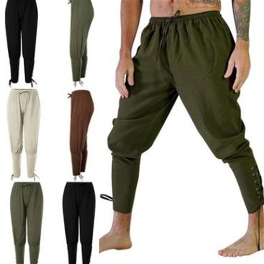 Viking Pirate Trousers For Medieval Cosplay Middle Ages Leg Bandage Loose Halloween Carnival Stage Renaissance Adult Pants