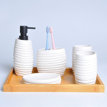 European style home bathroom supplies ceramic soap dispenser toothbrush holder soap box wash set bathroom decoration accessories