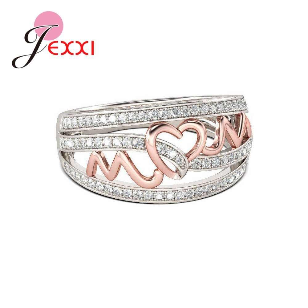 Le donne 925 Sterling Silver Cubic Zirconia Anelli In Oro Rosa Lettera di Colore Del Cuore Per La Festa della Mamma Semplice Multa Gioielli Regali
