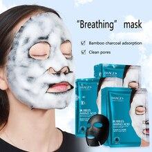 Изображения 1 шт аминокислотная пузырчатая маска Глубокая очистка пор бамбуковый уголь черная маска для лица отбеливающая маска для ухода за кожей лица