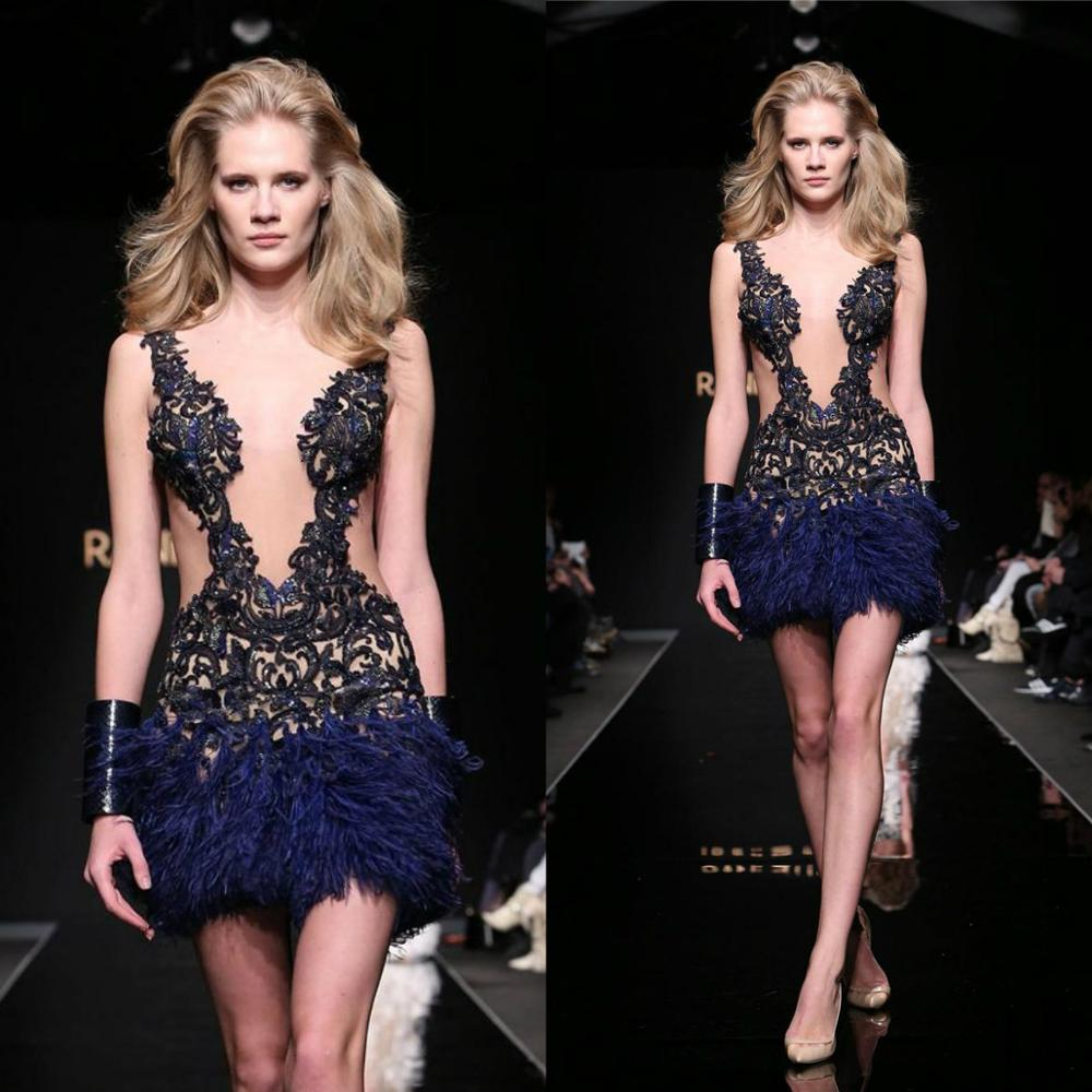 Sexy Short   Cocktail     Dresses   Sheer Plunging Neck Lace Feathers Sleeveless Cutaway Sides Special Occasion   Dress   Club Wear