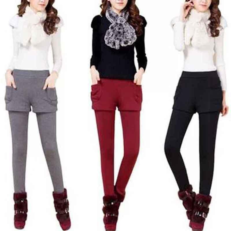 NORMOV Fashion Winter Warm   Leggings   Women's Pants Fake Two Pieces Plus Velvet Solid Color Mid Waist Skinny Slim   Leggings