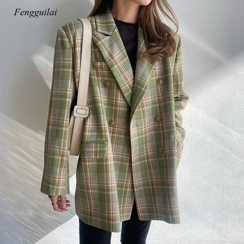 Vintage Loose Women Plaid Blazer 2021 Autumn Chic Double Breasted Female Long Sleeve Suit Jackets Stylish for Ladies za women double breasted check blazer long sleeve lapel collar blazer front flap pockets double breasted front button fastening