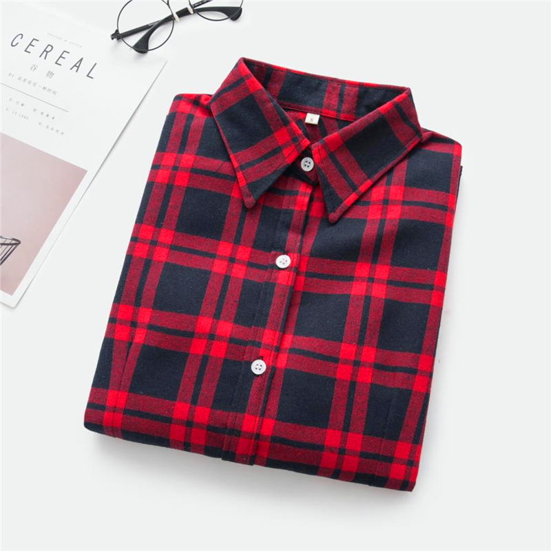 2020 New Women Blouses Brand New Excellent Quality Cotton 32style Plaid Shirt Women Casual Long Sleeve Shirt Tops Lady Clothes 33