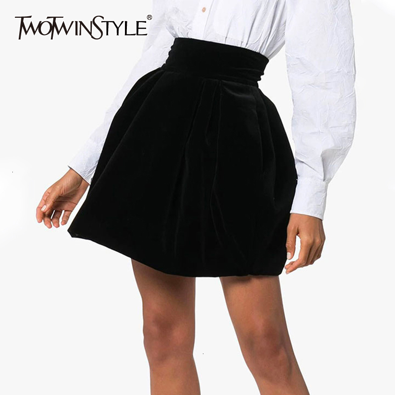 TWOTWINSTYLE Velour Ruched Skirt For Female Casual High Waist Autumn Elegant A-Line Women's Skirts Fashion Clothing 2020 Tide
