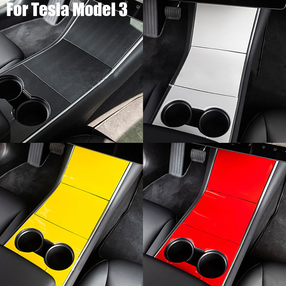 For Tesla Model 3 Center Console Cup Holder Panel ABS Cover Trim 3M Sticker 4 Colors