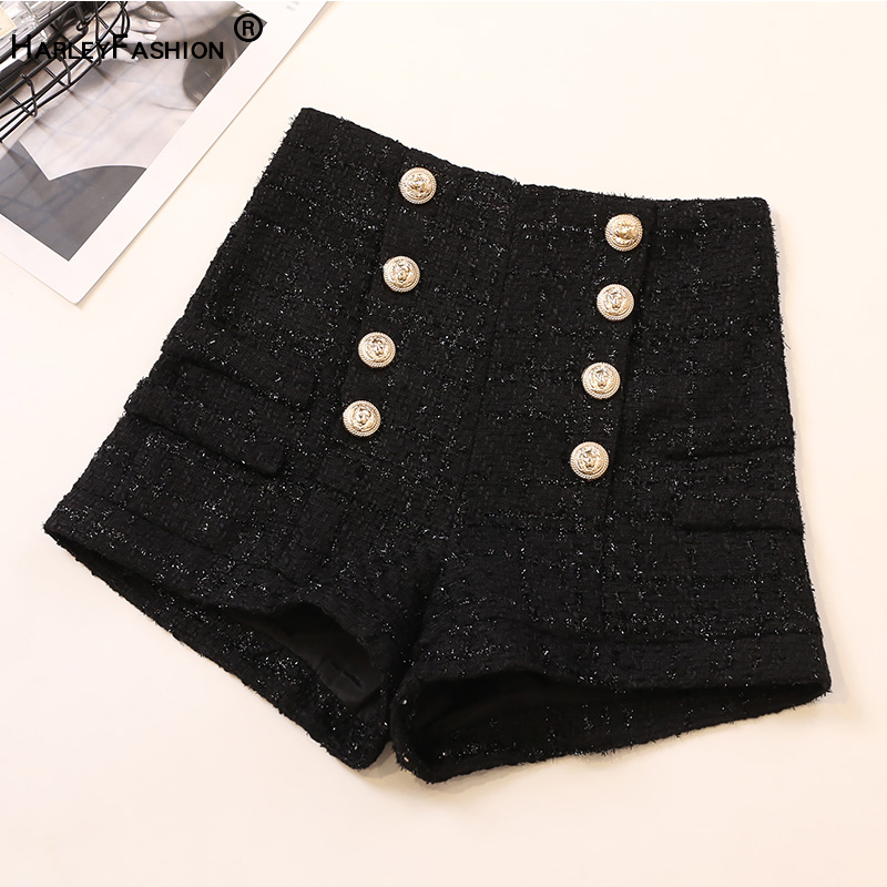 HarleyFashion Autumn Winter Design High Quality All-match Casual Shorts Slim Buttons Black Tweed Shorts