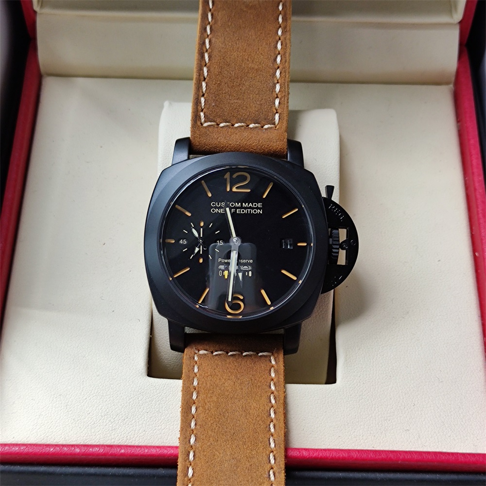 44mm automatic mechanical watch power reserve super stainless steel black dial luminous waterproof men