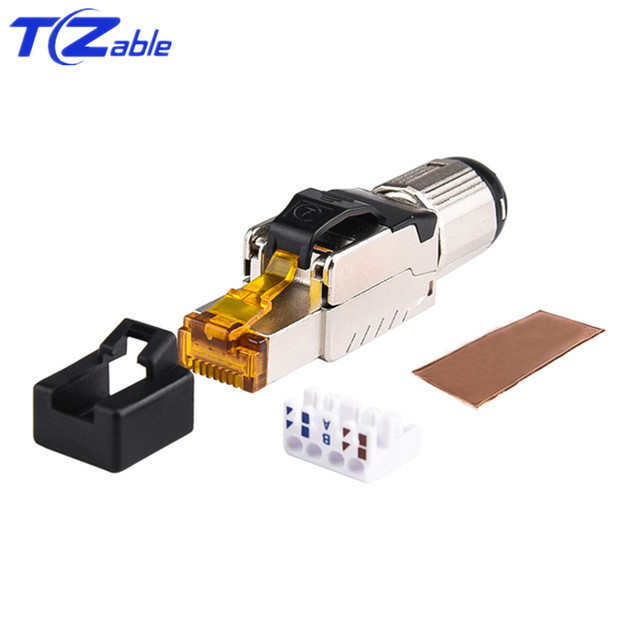 Cat7 RJ45 Ethernet Cable Connector Tool Free Crimping Shielded Ethernet Adapter 8p8c RJ45 Terminal Plug Networking Connectors