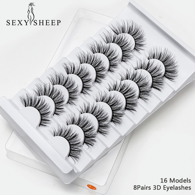 SEXYSHEEP 4/8 pairs 3D Mink Lashes Natural False Eyelashes Dramatic Volume Fake Lashes Makeup Eyelash Extension Silk Eyelashes 1