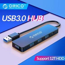 ORICO USB3.0 концентратор с интерфейсом питания мульти 4 порта USB разветвитель OTG адаптер Поддержка 5 Гбит/с 12 ТБ HDD для ПК компьютер Ноутбук