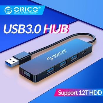 ORICO USB3.0 HUB avec Interface d'alimentation Multi 4 ports USB répartiteur OTG adaptateur prise en charge 5Gbps 12 to HDD pour ordinateur portable