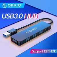 ORICO USB3.0 con interfaz de fuente de alimentación de 4 Port USB divisor de adaptador OTG de apoyo 5Gbps 12TB de disco duro para PC ordenador portátil