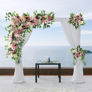 Image 5 - 1 סט 120cm 3D אירופאי סגנון DIY חתונה שלב דקור מלאכותי פרח קיר קשת משי עלה אדמונית צמחים עיצוב תפאורה פרח קיר