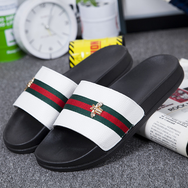 Men's Slippers EVA Men Shoes Male Flip Flops Soft Black and White Stripes Casual Summer Slides and Outdoor Footwear