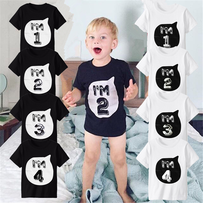 Toddler Baby Girl Kid Clothes Cotton T-Shirt Blouse Birthday Lace Top Tee Outfit