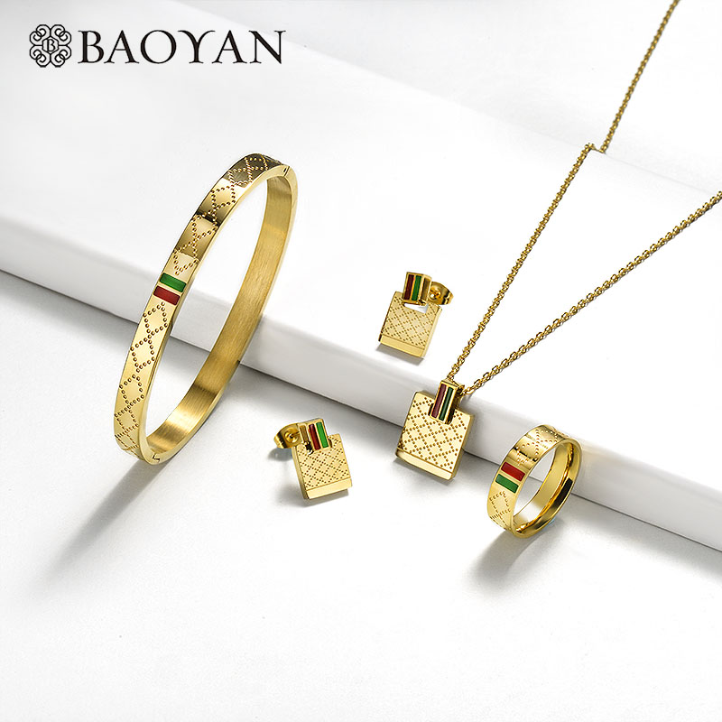 Baoyan Famous Brand Jewelry Wholesale Stainless Steel Jewelry Set Ring Necklace Bracelet Earrings Wedding Jewelry Sets For Women|Jewelry Sets| - AliExpress