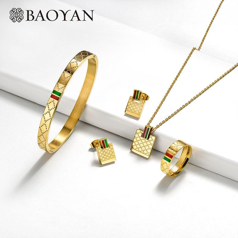 Baoyan Famous Brand Jewelry Wholesale Stainless Steel Jewelry Set Ring Necklace Bracelet Earrings Wedding Jewelry Sets For Women
