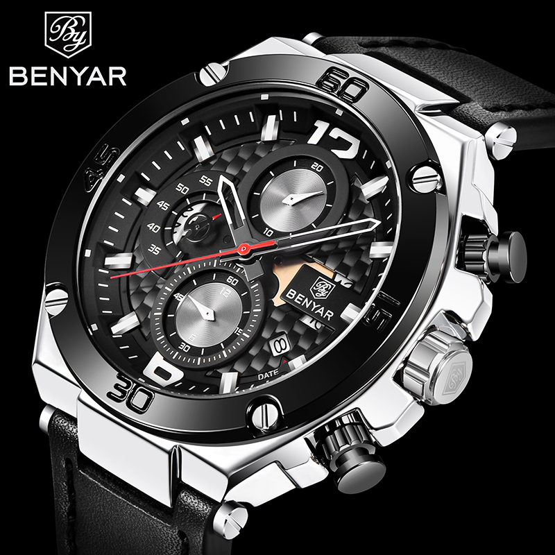 BENYAR 2019 New Quartz Men's Watches Fashion Leather Men Wrist Watch Military Waterproof Chronograph Watch Men Relogio Masculino