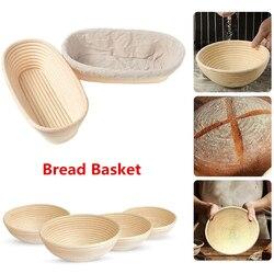 LMETJMA Round Oval Long Banneton Rattan Bread Basket Bread Dough Proofing Proving Rattan Basket with Linen Liner Cloth KC0337