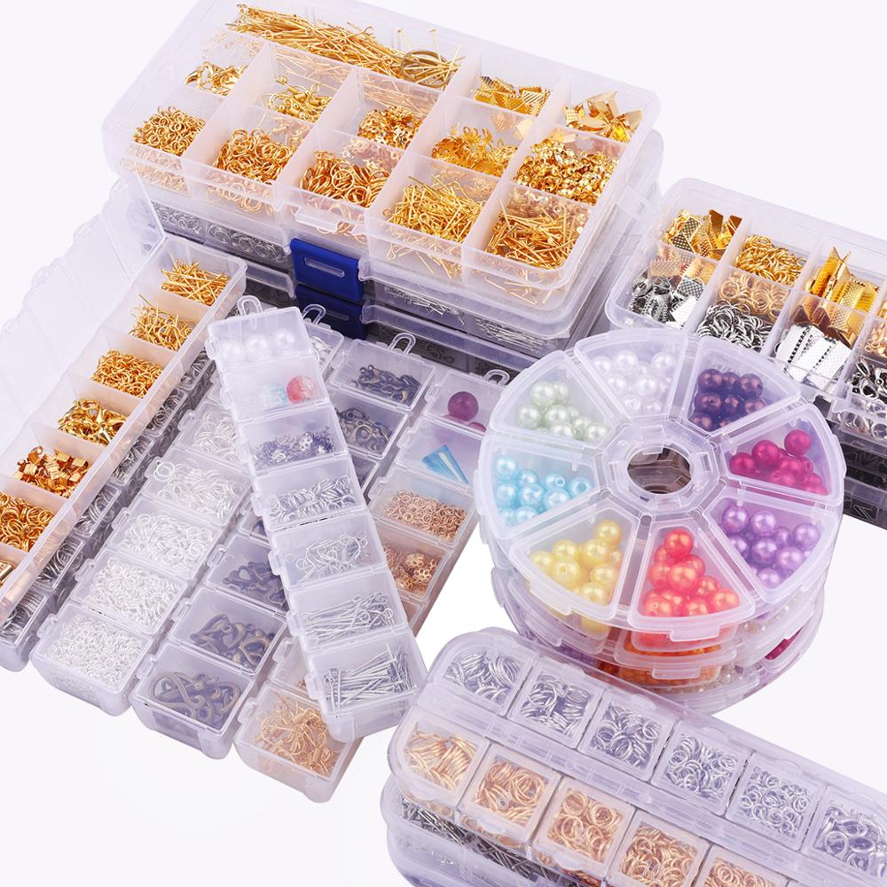 1Box 3 Colors Single Ring/Lobster Clasp/Tail Chain/Clip Buckle/Drop Kit/Messenger Box For DIY Necklace Jewelry Making Materials
