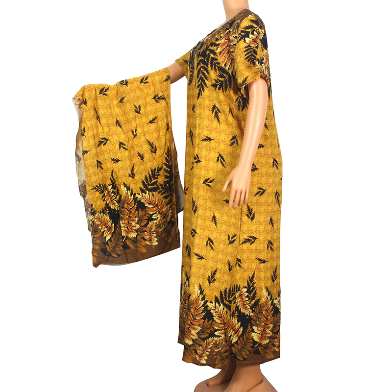 2020 Fashion Summer Modern African Dresses For Women Gold 100% Cotton Floral Print Elegant Fashion Mama Maxi Dress With Scarf