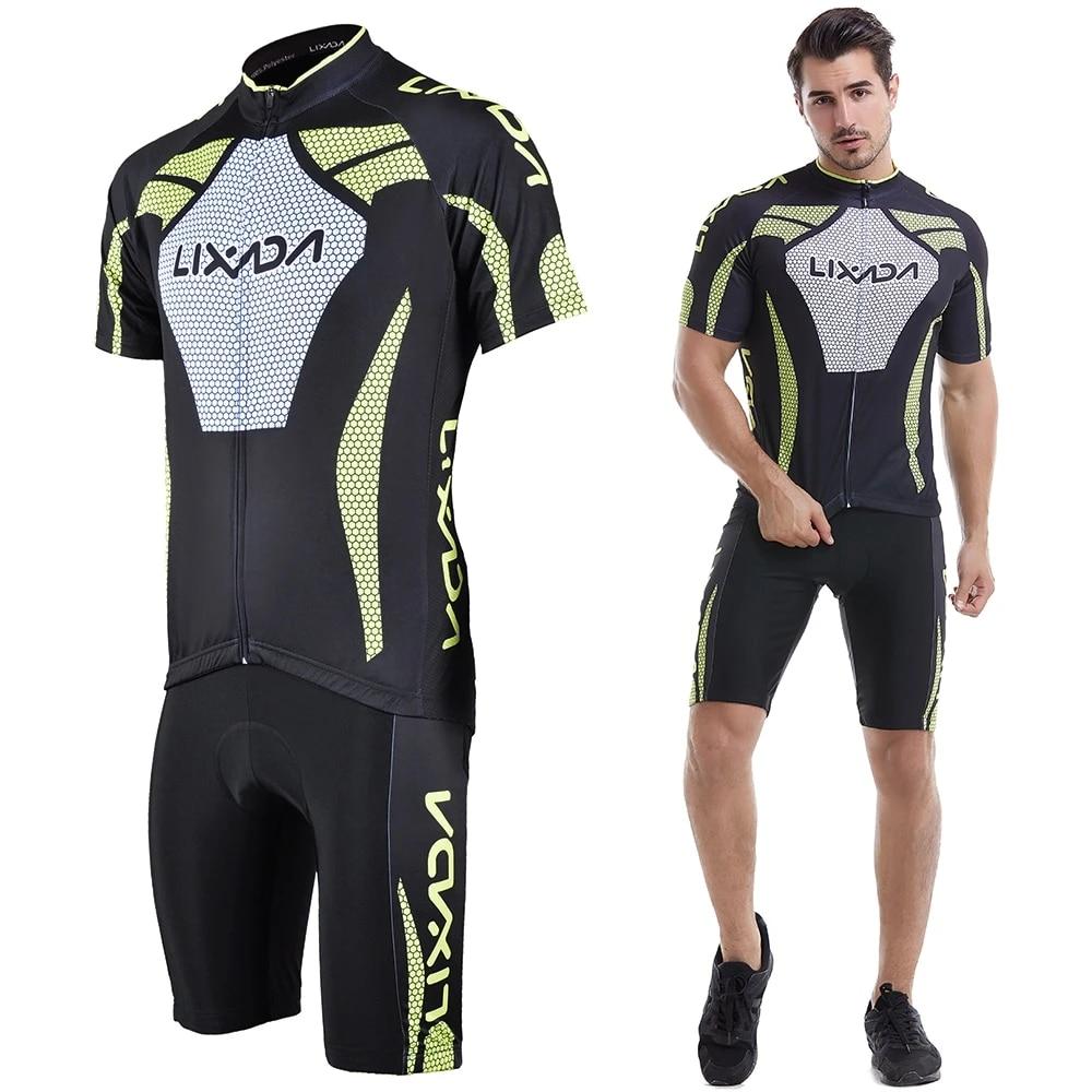 Men/'s Short Sleeve Cycling Jersey Padded Short BIke Sportswear Suit Set F0V5