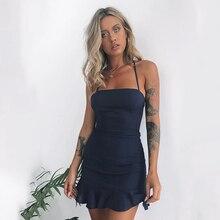 Женские Повседневные Вечерние платья с высокой эластичной талией, темно-синее платье с высокой талией, 2020