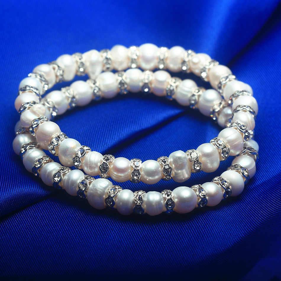 Cauuev Natuurlijke Zoetwater 8-9 Barokke Parel Armbanden Armbanden Voor Vrouwen Vintage Elastische Barok Parel Sieraden Charm Bohemian
