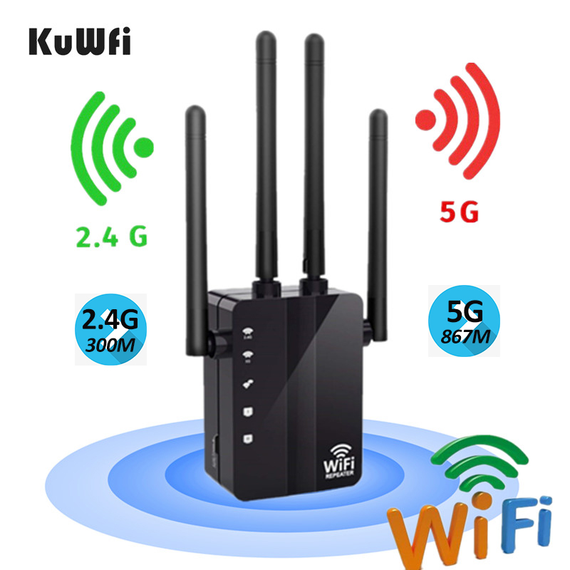 KuWFi 300 1200Mbps Wireless WiFi Repeater Wifi Extender Dual Band AP Router Wi-Fi Amplifier Long Range Signal Booster