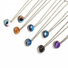 цена на CWFDY 10pcs/lot Handmade Glass Ball Time Gem Pendant Necklace Friendship Women Men Necklace Earth Planet Moon Saturn Necklaces