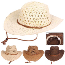 Cowboy-Hat Beach-Straw-Paper Travel Foldable Wide-Brim Women Summer with Sun-Proof Solid