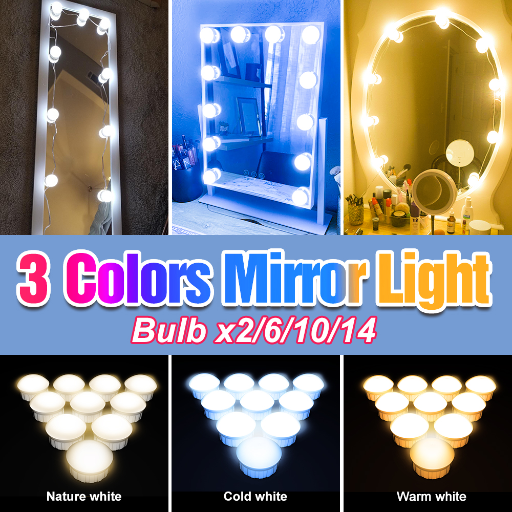 Makeup Wall Light LED Mirror Lamp Bulb Dimmable Cosmetic Lights USB 12V Hollywood 3 Colors 2 6 10 14 Bulbs Dressing Table Lamp