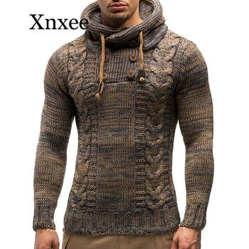 Vintage Sweater Men Solid Color Knit Hooded Sweaters New O-Neck Long Sleeve Slim Fit Pullover Tops Autumn Winter rebicoo sweater men jumper acrylic fashion solid long sleeve hooded pockets tops sweater blouse outwear mens sweaters