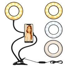 USB Selfie Ring Light with Phone Holder Flexible Gooseneck Arm Camera Lamp for Photo Live Stream Youtube Facebook Makeup Reading