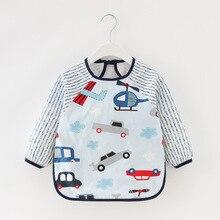 Baby Bibs Cartoon Long Sleeve Waterproof Feeding Burp Cloth