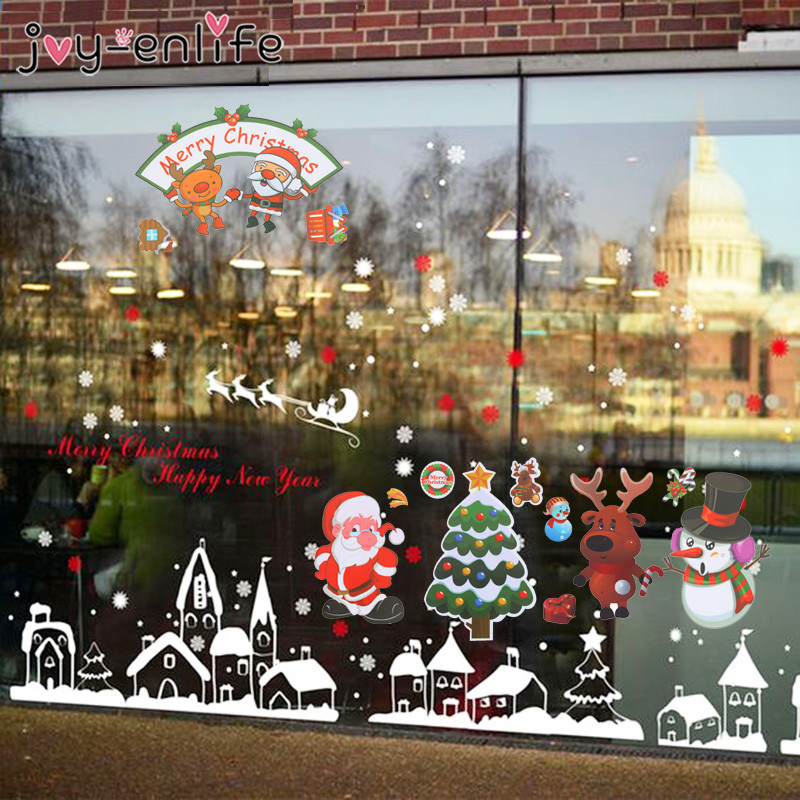 1ps Christmas Window Stickers Christmas Decorations For Home Refrigerator Santa Claus PVC Wall Sticker Natal New Year Decor Noel