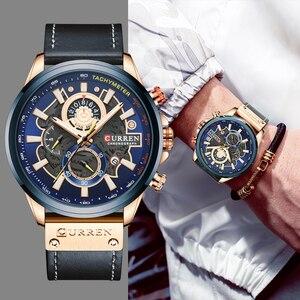 Image 2 - Curren relógio masculino moda quartzo relógios pulseira de couro esporte quartzo relógio de pulso cronógrafo masculino design criativo dial