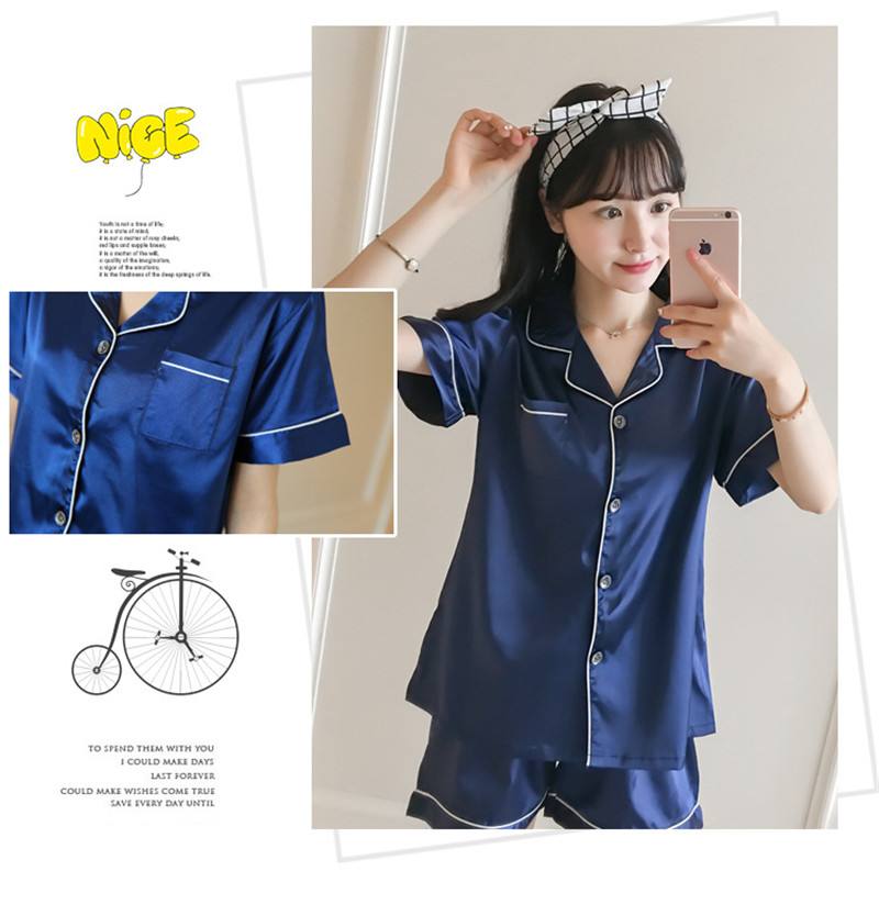 Hb38671650d0c4071a96ec0e8e5f249dfz - JULY'S SONG New Spring Summer Women Faux Silk Pajamas Set Simple Pure Color Leisure Nightwear Short Sleeves Sleepwear