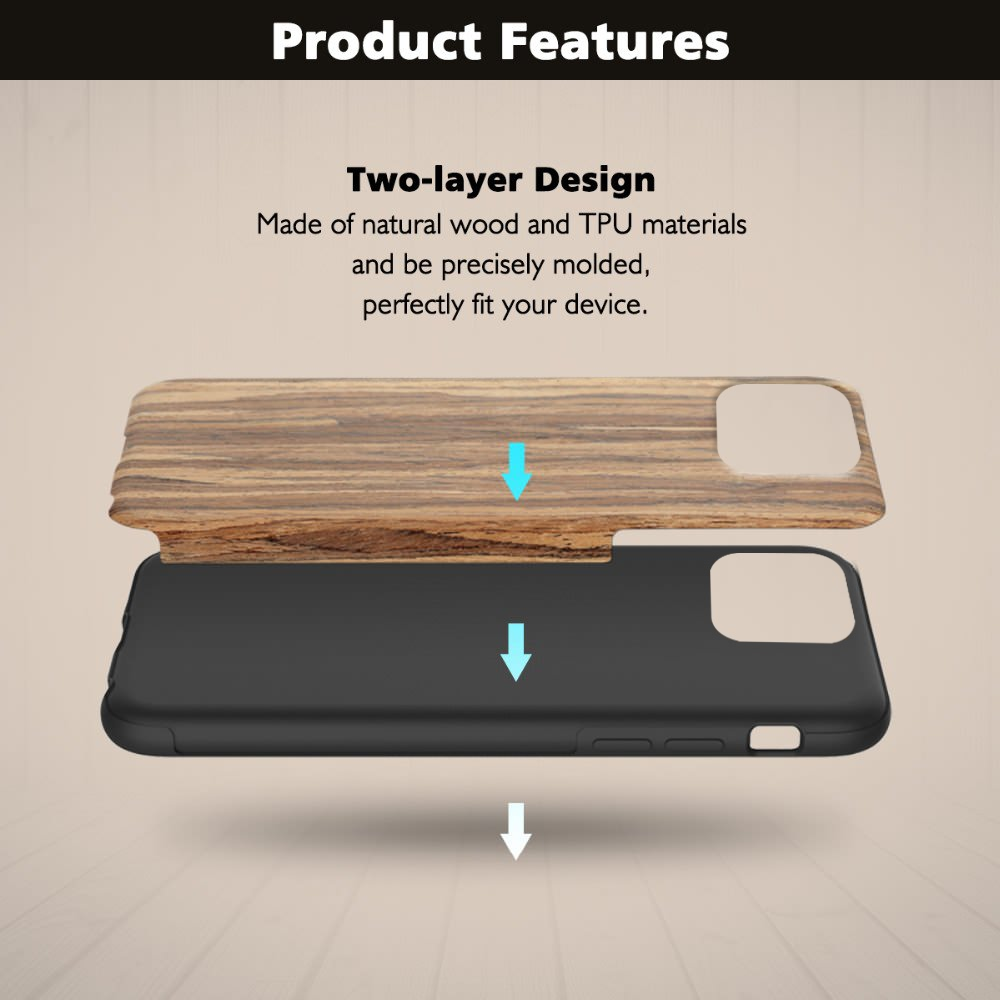 Slim Wood Grain Silicon Glitter Bumper Cover Wooden Case for iPhone 12 Pro Max 4
