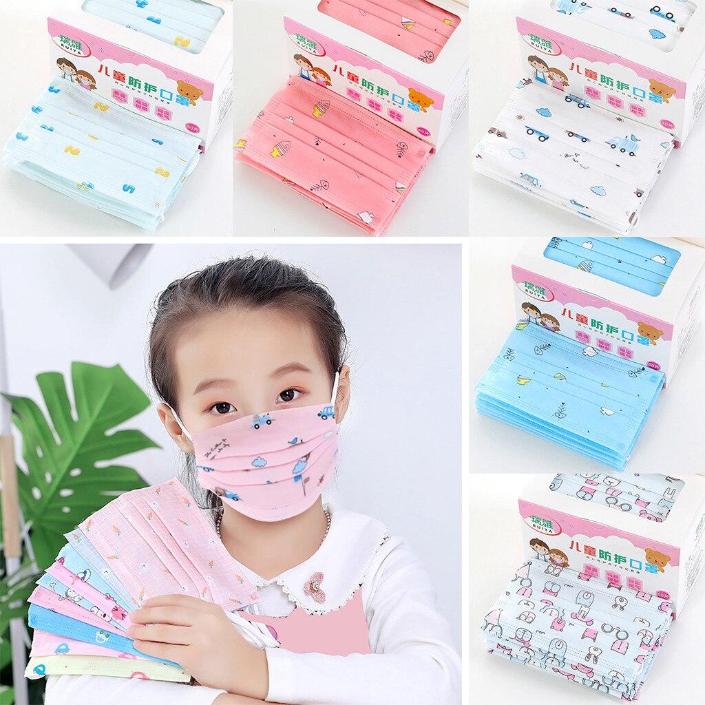 50pcs Children Mouth Face Disposable 3ply Face Dustproof -fog Non-woven Ear Loop Mascarillas Маски Для Particle Respirator#E20