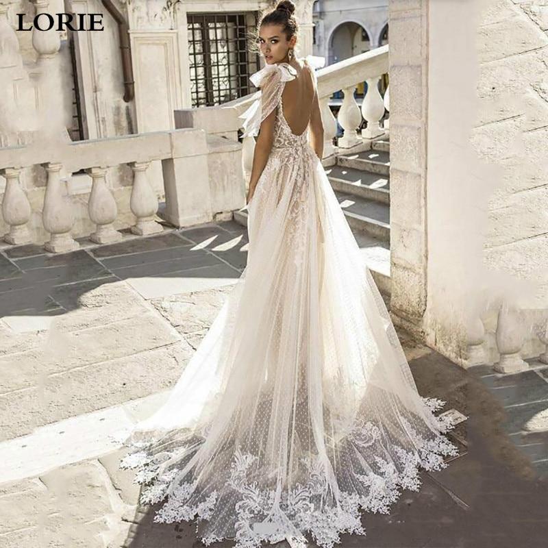 LORIE Boho Lace Wedding Dress 2019 V Neck Point Tulle Appliques Bride Dresses Sexy Backless Wedding Gown Vestidos De Novia