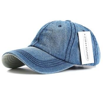 ZJBECHAHMU Summer Caps Casual Solid Denim Men Women Adjustable Baseball caps Vintage Hip Hop Caps Snapback Hats New Accessories фото