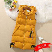 Женский жилет, плюс размер, зимняя куртка с карманами, пальто с капюшоном, теплый повседневный жилет с хлопковой подкладкой, женский тонкий жилет, Прямая поставка